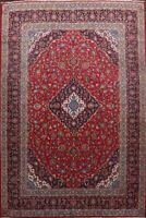 Vintage Traditional Floral Red Ardakan Area Rug Hand-Knotted Wool Carpet 10'x13'