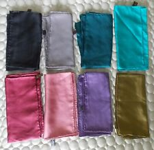 8 100% SILK SQUARES POCKET HANDKERCHIEFS HANKIES SOLID COLORS