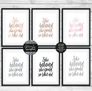 Fashion print she believed she could so she did rose gold quote wall art PRINT