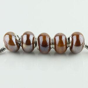 20PCS Shiny Ceramics Porcelain Silver Spacer Charm Beads Fit European Bracelet