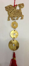 FENG SHUI BRASS CHI LIN QI LINS KIRINS WITH THREE COINS HANGING CHARM WINDCHIME