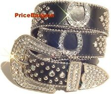 Western Rhinestone Black Horse Concho Leather Snap on Buckle Belt M SM