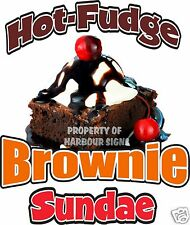 "Hot Fudge Brownie Sundae Decal 14"" Ice Cream Concession Restaurant Food Truck"