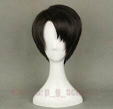 Attack On Titan Shingeki no Kyojin Levi Rivaille Cosplay Costume Wig + Wig Cap