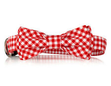 Red Checkered Bow Tie Dog Collar-  Stylish Custom Dog Collar (Bow Tie Collar)