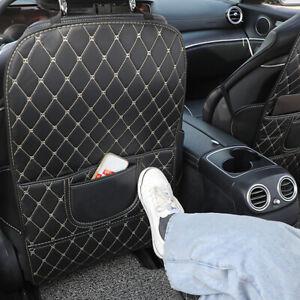 Auto Car Seat Back Anti Kick Pad Mat PU Leather Protector Cover White Universal