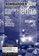 Bombardier Outlander 2004 Max & Max XT Owners Bound Book Manual Free Shipping