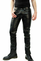 Mens Genuine Leather Black Shinny Jeans Pants Leather Sheep Leather Men Trousers