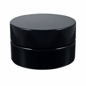 Miron Violet Glass Wide Neck Cosmetic/Herb Jar 50ml (Wide) with Black Lid