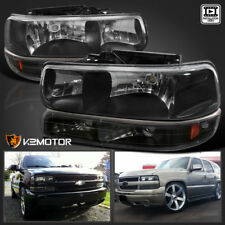 00-06 Chevy Tahoe/Suburban 99-02 Silverado Headlights+Bumper Lights Black 4pc (Fits: Chevrolet)