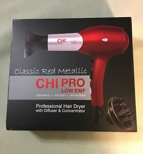 New Chi Professional low EMF Hair Dryer Red Bonus diffuser and accessories