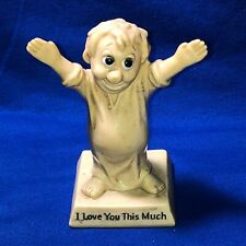 """Vintage 1970s W & R Berries Co's I Love You This Much Statue Man Figurine 6.5"""""""