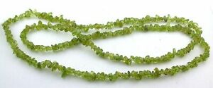 Large Graduated Natural Gemstone Chips Side Drilled Peridot Long Chips  Beads