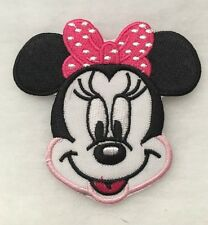 """3.25"""" Embroidered Minnie Mouse Face w/pink polka dot bow Iron On Applique patch"""