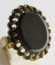 bague bijou fantaisie couleur or panier déco plaque onyx noir taille réglable