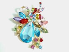 Unbranded Turquoise Rhinestone Costume Brooches & Pins