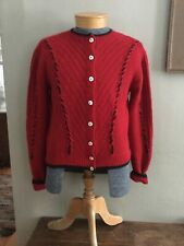 South Wool Cardigan Sweater Size Small Red Hand Knit Black Trim Uruguay Vintage?
