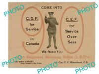 OLD HISTORIC PHOTO OF WWI CANADIAN MILITARY POSTER THE 99th WINNIPEG REGIMENT