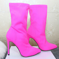 Women's Autumn Ankle Boots Stretch Stiletto High Heels Pointed Toe Pumps Shoes