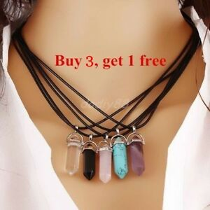 8Colors Quartz Crystal Stone Point Chakra Healing Gemstone Pendant Necklace Gift