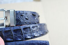 Genuine Alligator ,Crocodile LEATHER Skin Men's Belt Dark Blue
