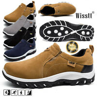 Mens Suede Slip On Sports Outdoor Sneakers Driving Walking Hiking Shoes Trainers