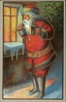 Christmas Santa Claus Outside Window w/ Lantern c1910 ROBBINS Postcard