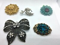 Job lot of 5 Vintage brooches N1