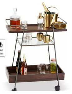 Macy's Hotel Collection Specialty Rolling Bar Cart New