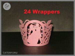 24 CUPCAKE WRAPPERS PINK WEDDING ARCH BRIDE GROOM COUPLE LASER CUT CASES CAKE