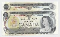 2 x Sequential 1973 $1 Bank of Canada Notes BAE7958257-8 -  UNC