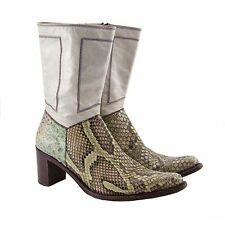 Rocco P Python and Leather Cowboy Boots Italy 39 US 9