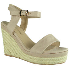 Womens Ladies Platform Party Espadrilles Suede Platform Shoes Wedge Sandals Size