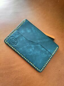 Card case, leather case for credit cards handmade ,Turquoise color, yellow