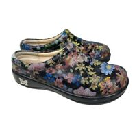 Alegria Womens Kay-395 Clogs Shoes Black Leather Sparkle Floral Comfort US 5.5