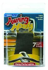 7  pack CAMCO RV awning rail steel hooks party light cord black fabric holder