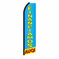 Financiamos Auqi Advertising Sign Swooper Feather Flutter Banner Flag Only