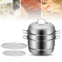 Stainless Steel 3-Tier Steamer Induction Steam Steaming Pot Kitchen Cookware Set