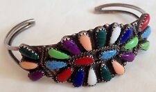 Beautiful Zuni Sterling Silver & Colorful Stones Petit Point Cuff Bracelet