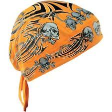 Zan Headgear Orange Tribal Skull Cotton Flydanna One Size Headwrap Motorycle ATV