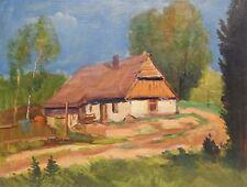 Original Antique Oil Painting by V.Vorontsov Rural Landscape Vintage Russian Art