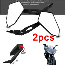 2pcs Black Aluminum Bike Motorcycle ATV Handle Bar End Rearview Side Mirrors