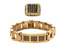 Men's Goldtone Black Crystal Bracelet & Ring Set Item Number: NW933