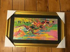 "Framed 1976 Olympic Track Print LeRoy Neiman 18"" X 29"" NEW GOLD FRAME"