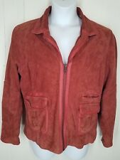 Territory Ahead Leather Jacket suede red womens L zipper long sleeve