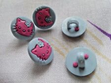 6 x Buttons Kids Clothing Knitting/Sewing Card Making Hello Kitty