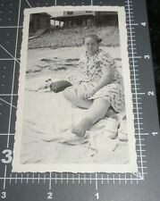Large Woman in Full Dress & SOCKS @ the Beach Weird Angry Vintage Snapshot PHOTO