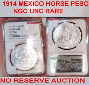 NGC UNCIRCULATED 1914 MEXICO CABALLITO PESO-VERY RARE DATE BU & A LOVELY COIN #1