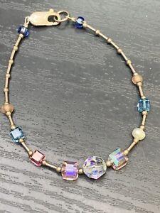 Handmade Bracelet Vtg Crystal Aurora Borealis  freshwater pearl Sterling Silver