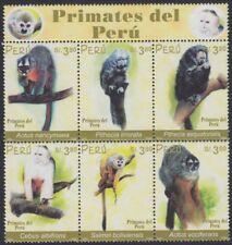 Perú 1318/23 2002 Primates del Perú fauna monkey MNH